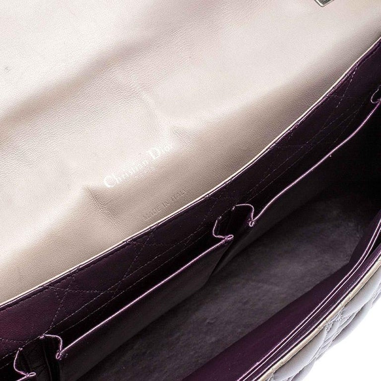 Dior Grey Cannage Leather Large Miss Dior Flap Bag For Sale 5
