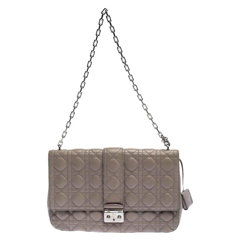 Dior Grey Cannage Leather Large Miss Dior Flap Bag For Sale