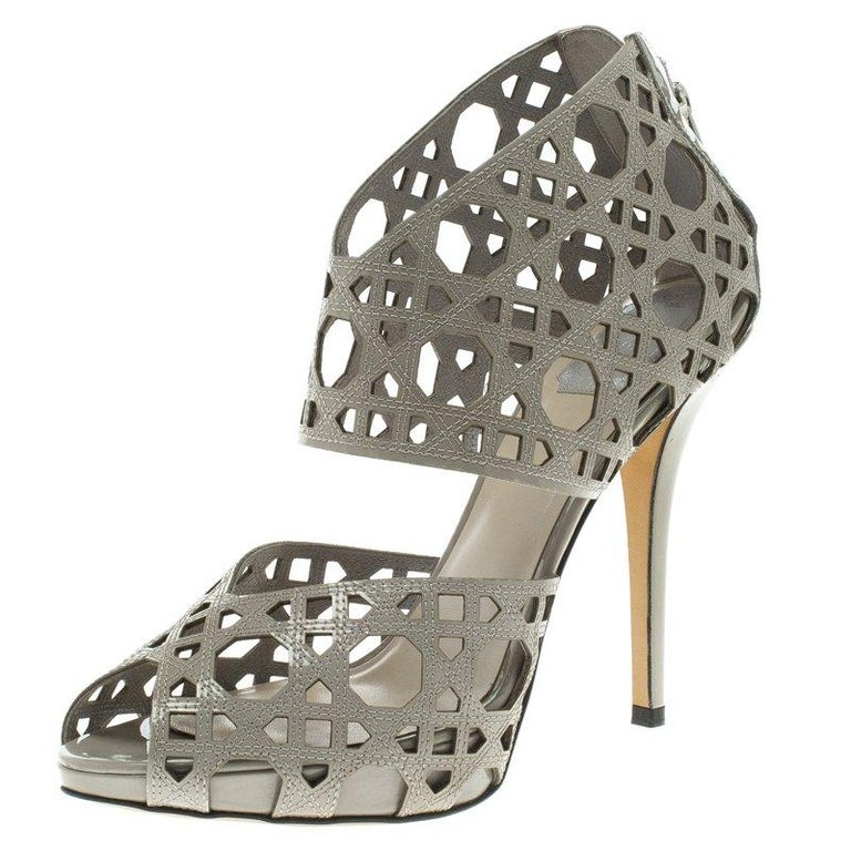 8ab1cc030ef Dior Grey Cutout Cannage Leather Miss Dior Caged Sandals Size 41 For Sale