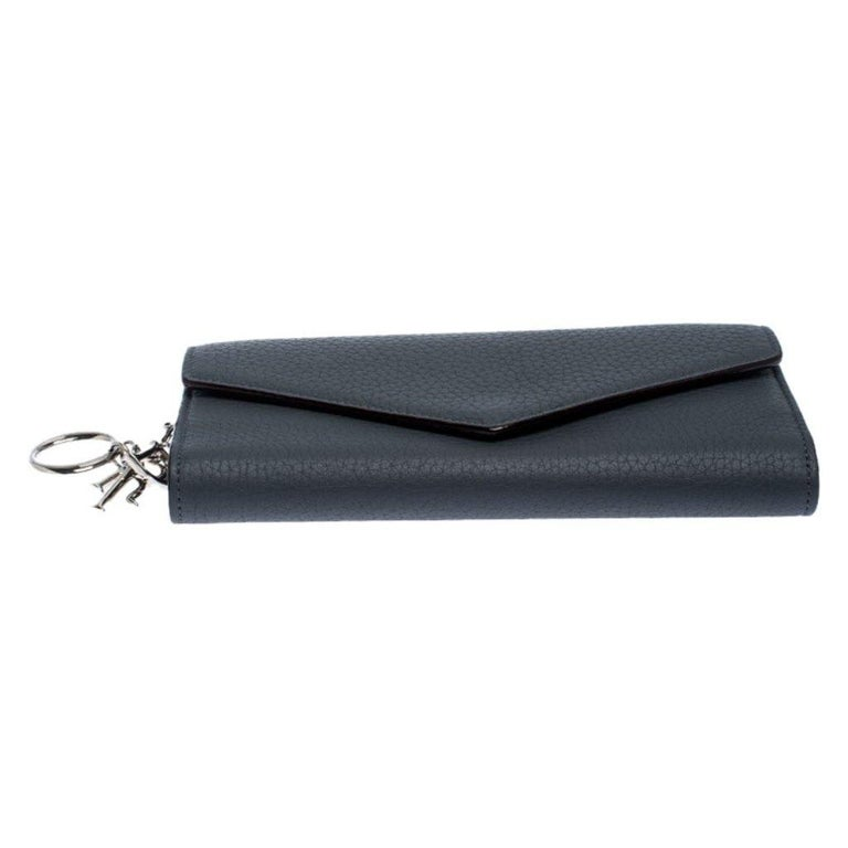 Women's Dior Grey Leather Diorissimo Continental Wallet For Sale