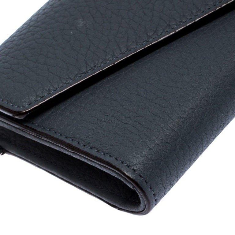Dior Grey Leather Diorissimo Continental Wallet For Sale 3