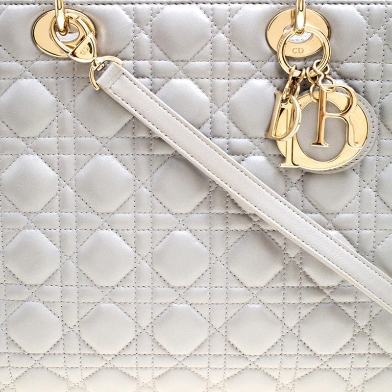 Dior Grey Leather Large Lady Dior Top Handle Bag 6