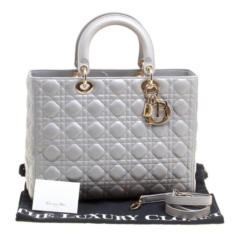 Dior Grey Leather Large Lady Dior Top Handle Bag 7