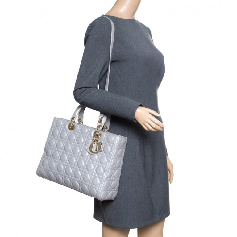 Gray Dior Grey Leather Large Lady Dior Top Handle Bag