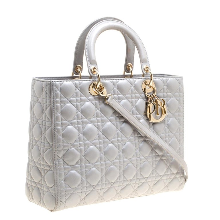Dior Grey Leather Large Lady Dior Top Handle Bag In Good Condition In Dubai, Al Qouz 2
