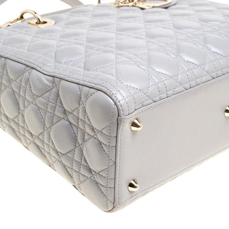 Dior Grey Leather Large Lady Dior Top Handle Bag 4