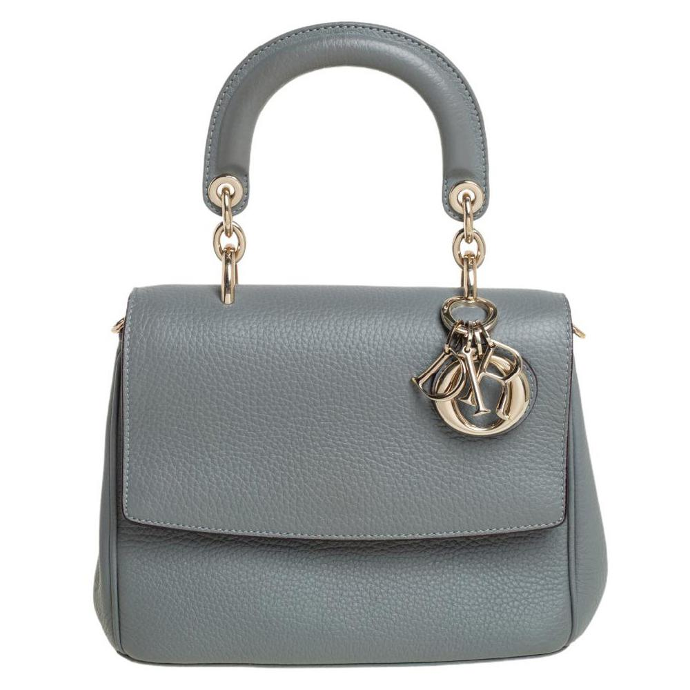 Dior Grey Leather Mini Be Dior Flap Top Handle Bag