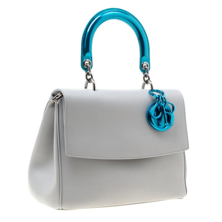 Dior Grey Leather Small Be Dior Shoulder Bag For Sale 4