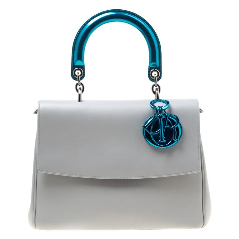 Dior Grey Leather Small Be Dior Shoulder Bag For Sale