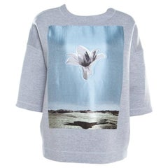Dior Grey Neoprene Floral Embroidered Short Sleeve Oversized Jumper S