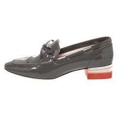 Dior Grey Patent Leather Bow Embellished Block Heel Loafer Pumps Size 38.5