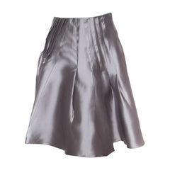 Dior Grey Silk Satin Pleated High Waist Skirt M