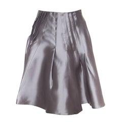 Dior Grey Silk Satin Pleated High Waist Skirt M