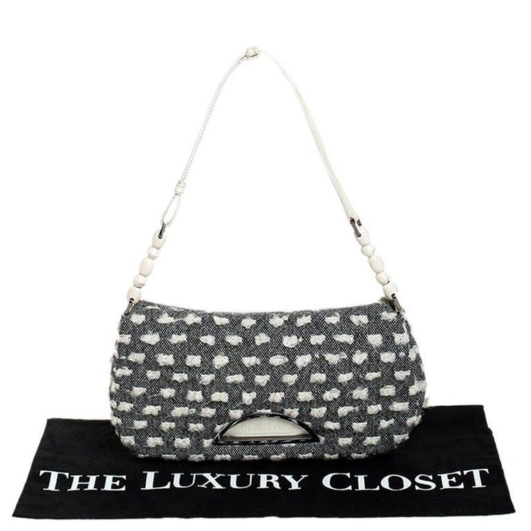 Dior Grey Tweed Limited Edition Beaded Malice Shoulder Bag For Sale 8
