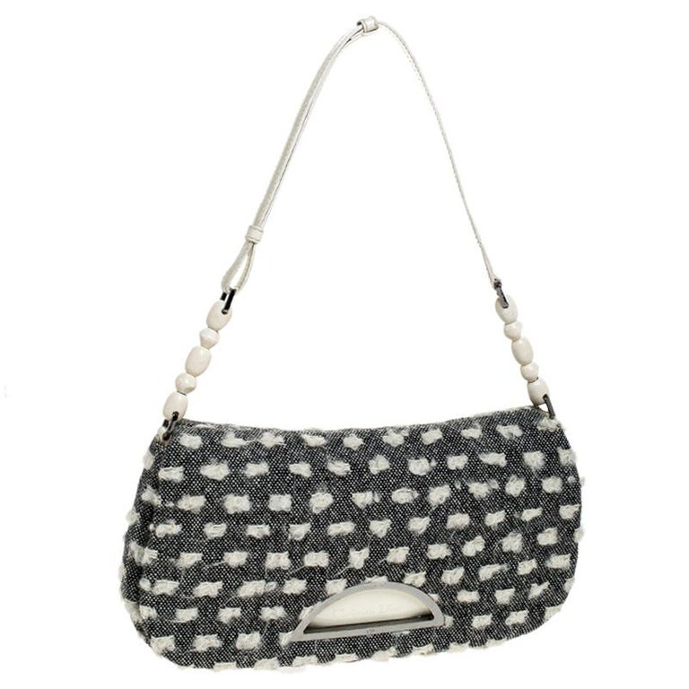 Women's Dior Grey Tweed Limited Edition Beaded Malice Shoulder Bag For Sale