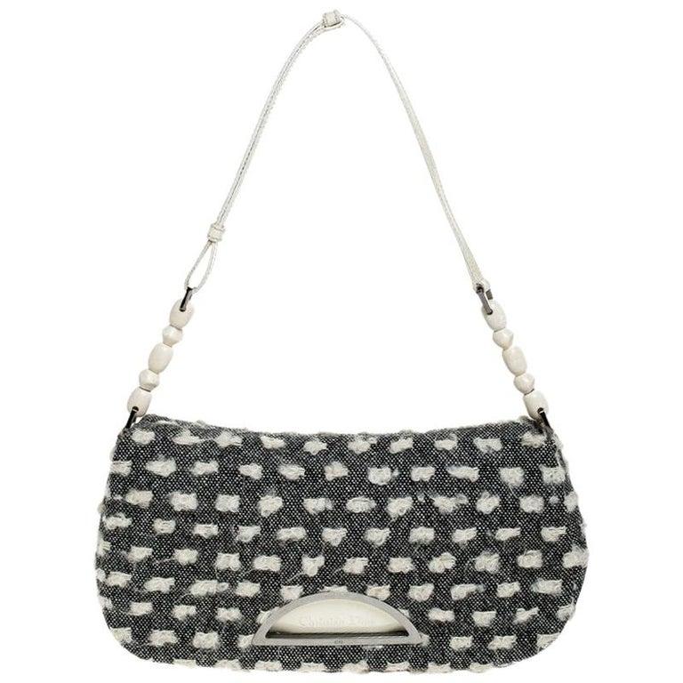 Dior Grey Tweed Limited Edition Beaded Malice Shoulder Bag For Sale