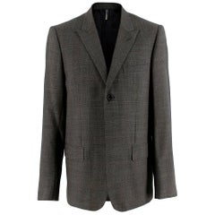Dior Grey Wool Houndstooth Single Breasted Jacket - Size L EU 50