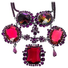 Dior Gunmetal Tone Crystal Statement Necklace