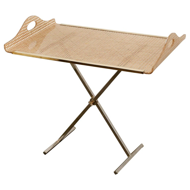 Dior Home Natural Cane Encased in Resin with Brass Accents Butler's Tray / Table For Sale