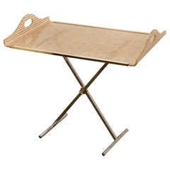 Dior Home Natural Cane Encased in Resin with Brass Accents Butler's Tray / Table