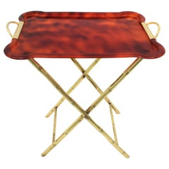 Dior Home Style Folding Tray Table, Faux Bamboo Brass and Tortoiseshell Lucite