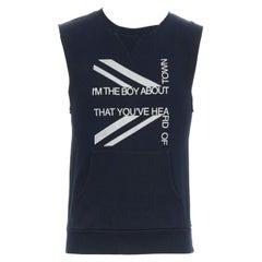 DIOR HOMME black Boy About Town print kangaroo pocket cut sleeveless vest  XS