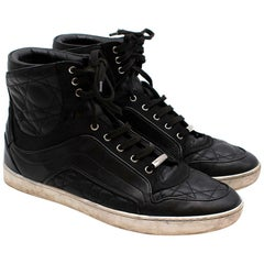Dior Homme Black Leather and Suede High-Top Sneakers 38.5