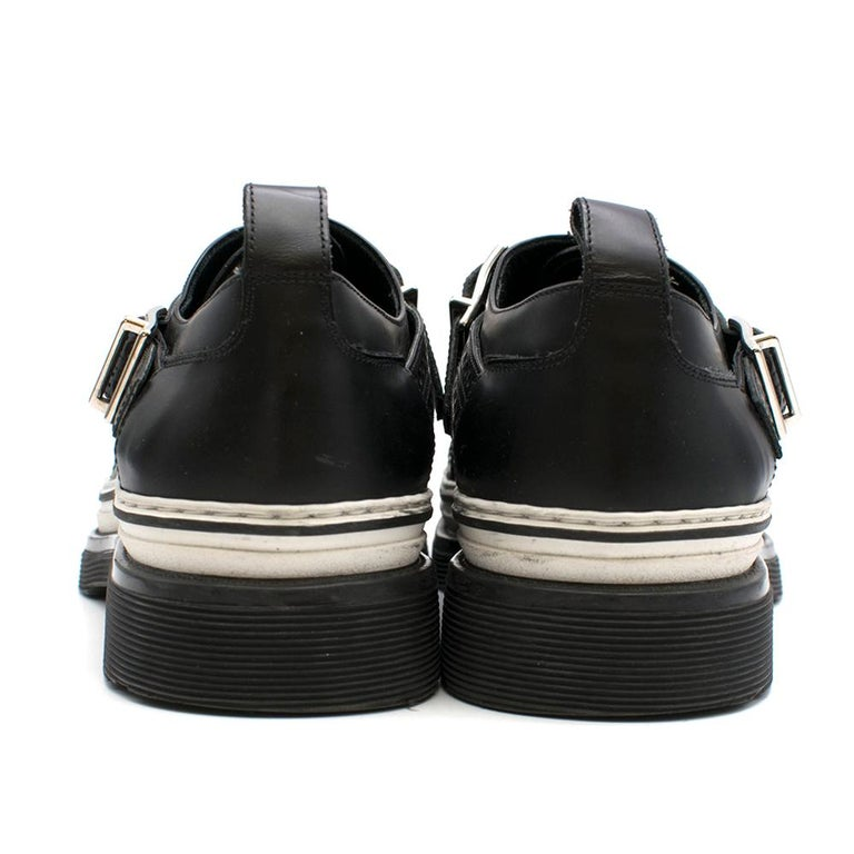 Dior Homme Black Leather Cross Strap Platform Brogues  - US8/EU41 In Excellent Condition For Sale In London, GB
