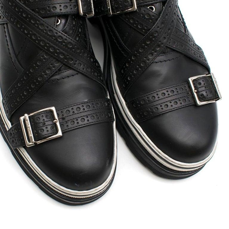 Dior Homme Black Leather Cross Strap Platform Brogues  - US8/EU41 For Sale 1
