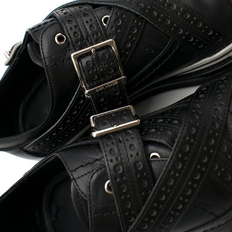 Dior Homme Black Leather Cross Strap Platform Brogues  - US8/EU41 For Sale 2