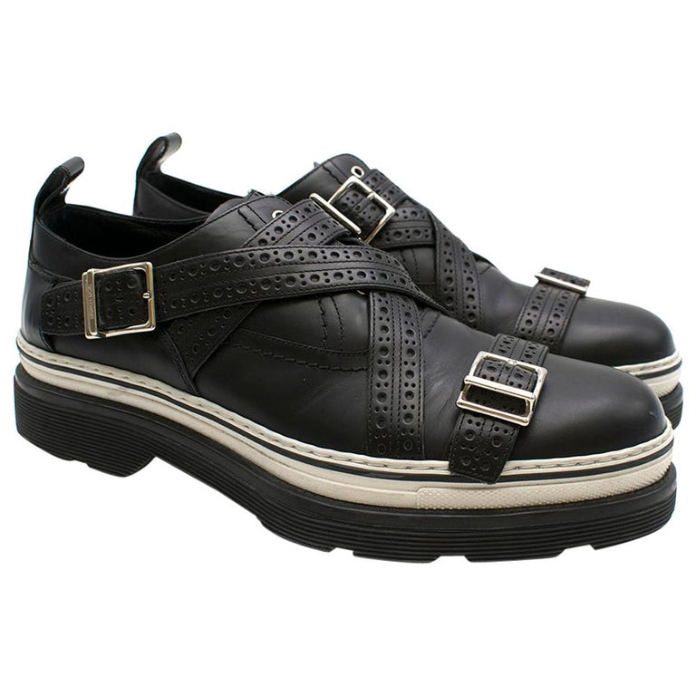 Dior Homme Black Leather Cross Strap Platform Brogues  - US8/EU41 For Sale