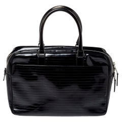 Dior Homme Black Stripped Glossy Leather Document Briefcase
