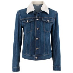 Dior Homme Blue Denim Jacket with Shearling Trim - Size 50EU