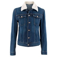 Dior Homme Blue Denim Jacket with Shearling Trim - Size Large - 50 EU