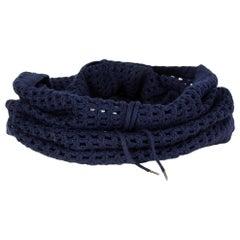DIOR HOMME dark blue wool DRAWSTRING CROCHET TUBE Scarf
