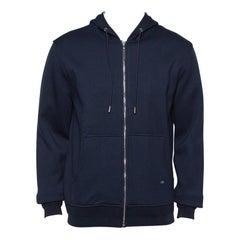 Dior Homme Navy Blue Knit Zip front Hoodie L