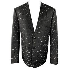 DIOR HOMME Pre-Fall 2017 Size 42 Black & White Textured Wool Sport Coat