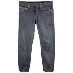 DIOR HOMME Size 32 Indigo Contrast Stitch Denim Button Fly Jeans