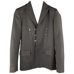 DIOR HOMME Size 34 Black Solid Wool Peak Lapel Sport Coat