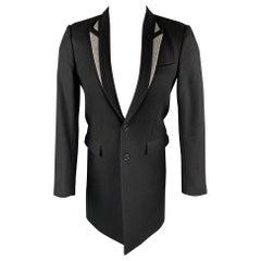DIOR HOMME Size 36 Black & Grey Wool / Polyamide Peak Lapel Coat
