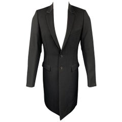 DIOR HOMME Size 38 Black Wool Leather Collar Notch Lapel Coat