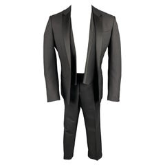 DIOR HOMME Size 40 Black Wool / Mohair Peak Lapel 3 Piece Tuxedo