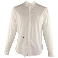 DIOR HOMME Size L White Solid Cotton Hidden Buttons Long Sleeve Shirt