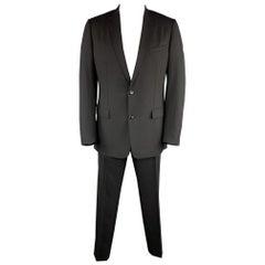 DIOR HOMME Size US 44 / IT 54 R Black Virgin Wool Notch Lapel Two Button Suit