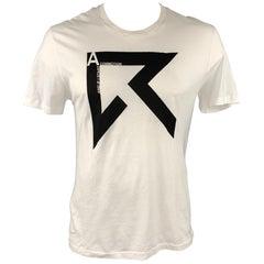 DIOR HOMME Size XL White Graphic Cotton Short Sleeve T-shirt