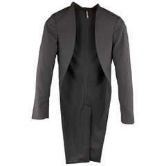 DIOR HOMME Size XS Black Solid Wool Open Front Tails Jacket