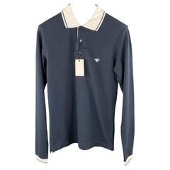 DIOR HOMME Size XS Navy Pique White Collar Long Sleeve POLO