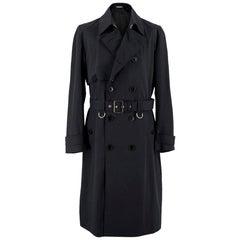 Dior Homme Virgin Wool Black Trench Coat - Size Large UK 40