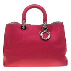 Dior Hot Pink Leather Large Diorissimo Shopper Top Handle Bag