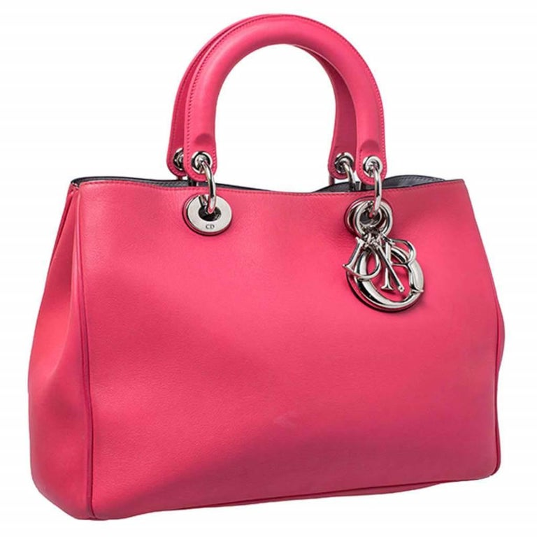 Women's Dior Hot Pink Leather Medium Diorissimo Shopper Tote For Sale